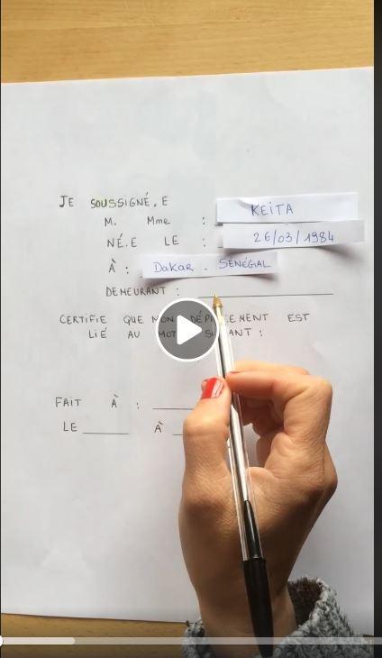Attestation écrite à la main